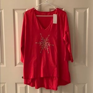 Red high low snowflake tunic 1X NWT